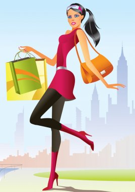 Fashion shopping girl with shopping bag in New York