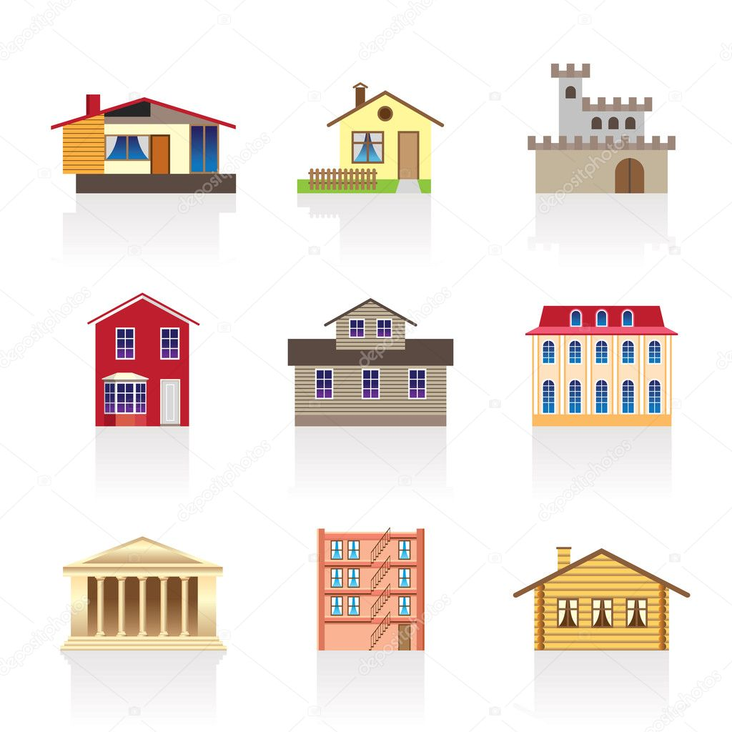 Diferentes tipos de casas y edificios vector de stock for Kinds of houses pictures