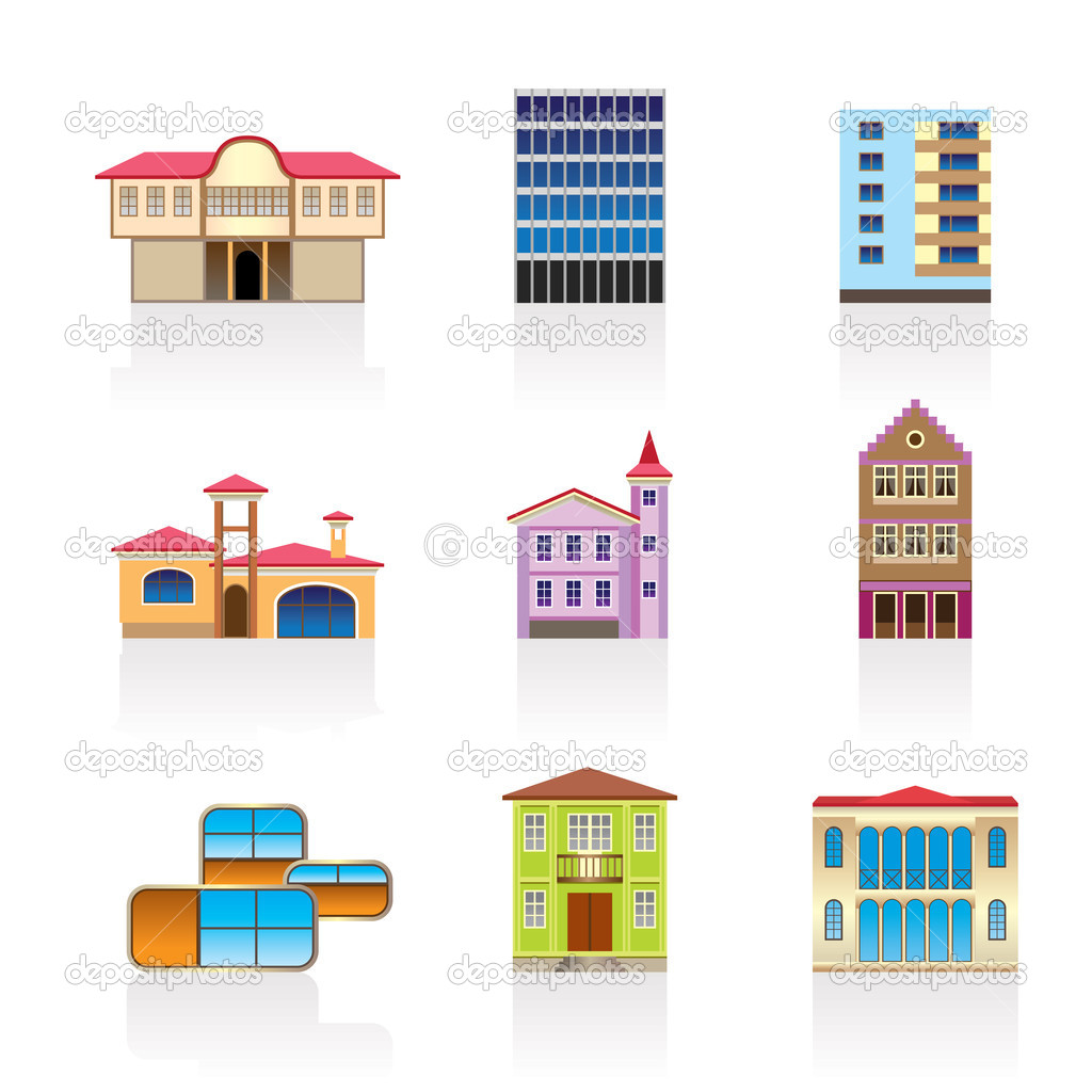 Different kind of houses and buildings stock vector for Different types of homes to build