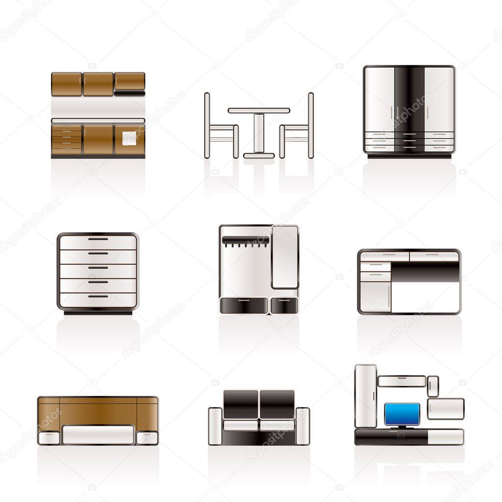 m bel und einrichtung symbole stockvektor stoyanh 5180340. Black Bedroom Furniture Sets. Home Design Ideas