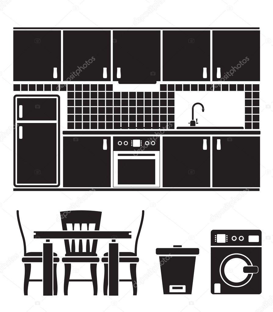 Attrezzature, mobili e oggetti di cucina — Vettoriali Stock ...