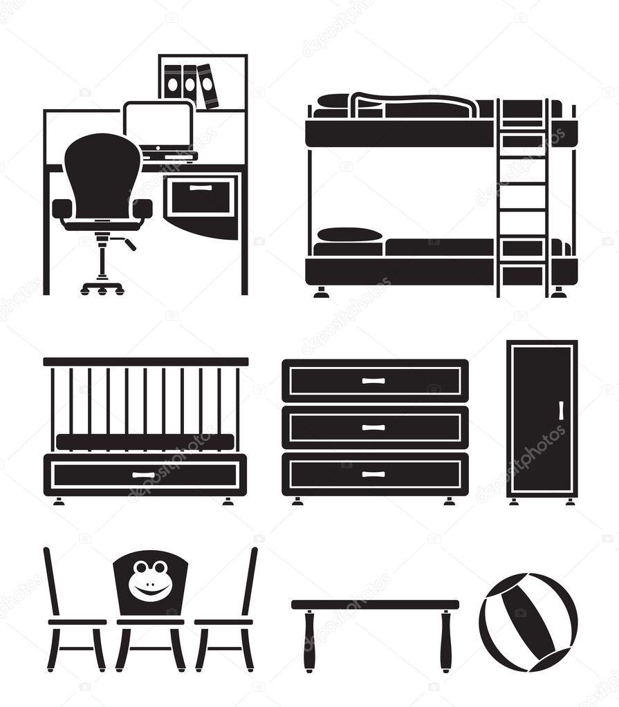 vivero y objetos de la sala de niños, mobiliario y equipo — Vector ...