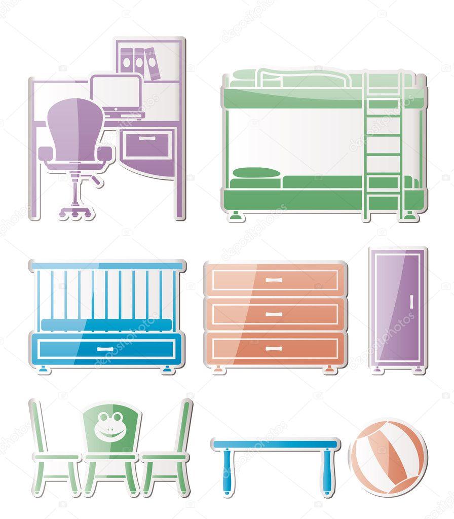 vivero y objetos de la sala de niños, mobiliario y equipo — Archivo ...