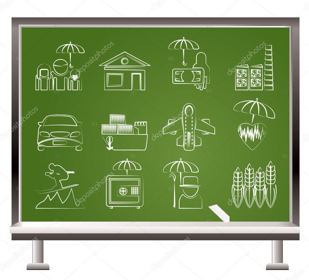 diff rents types d 39 ic nes d 39 assurance et de risques image vectorielle stoyanh 5332987. Black Bedroom Furniture Sets. Home Design Ideas