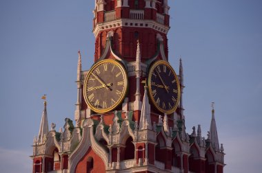 Hours on the Spasskaya tower. A chiming clock. The Kremlin. Moscow.