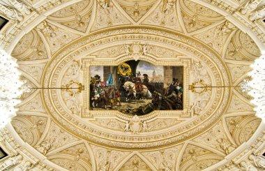 """Картина, постер, плакат, фотообои """"Богато украшенный потолок с фреской"""", артикул 5135328"""