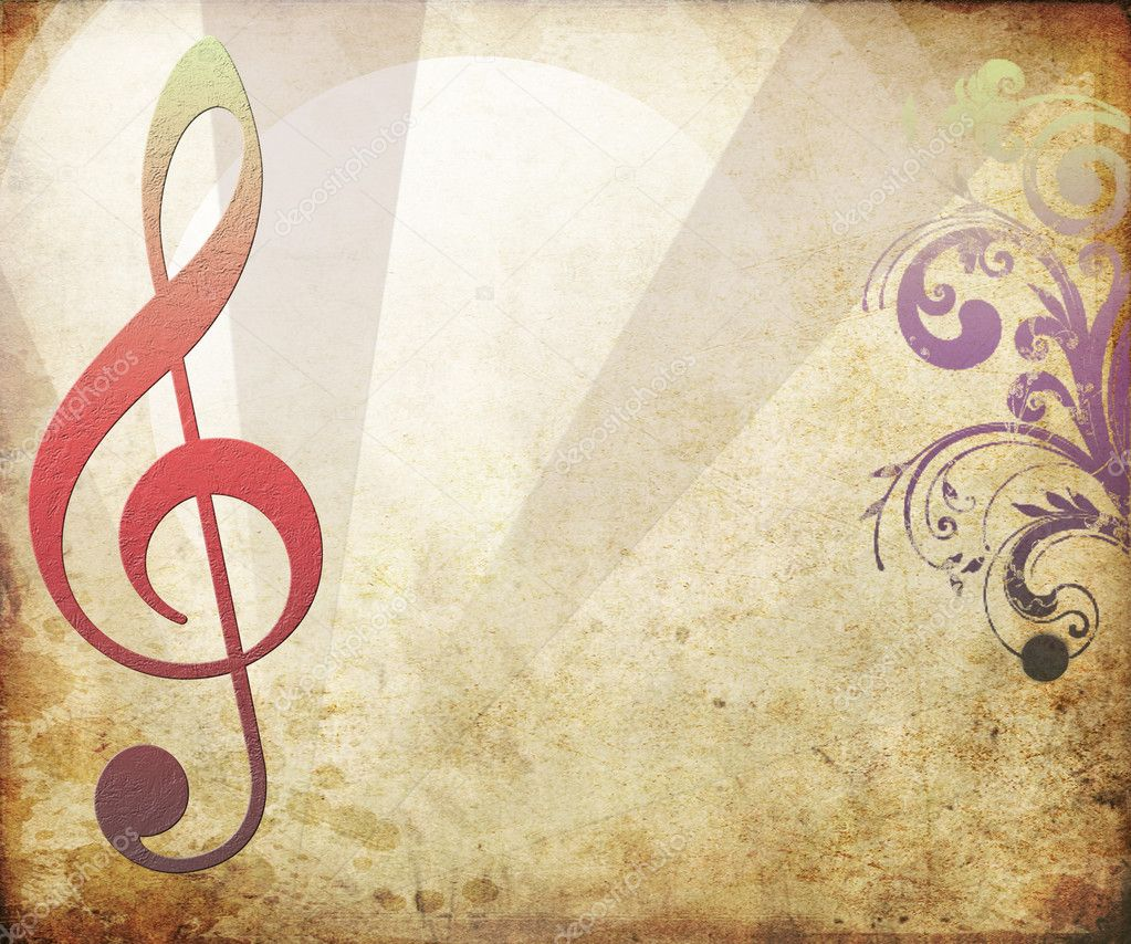 Musical key background in retro