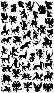 Mythological animals silhouette
