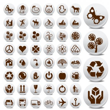 Tourist and packaging icon set