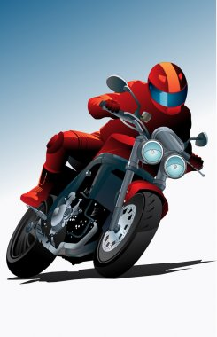 Sport motorcycle vector with driver