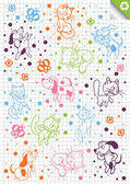 Photo Dog, cat cartoon vector background in different positions