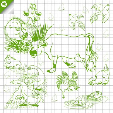 Vector set of farm animals hand draw style