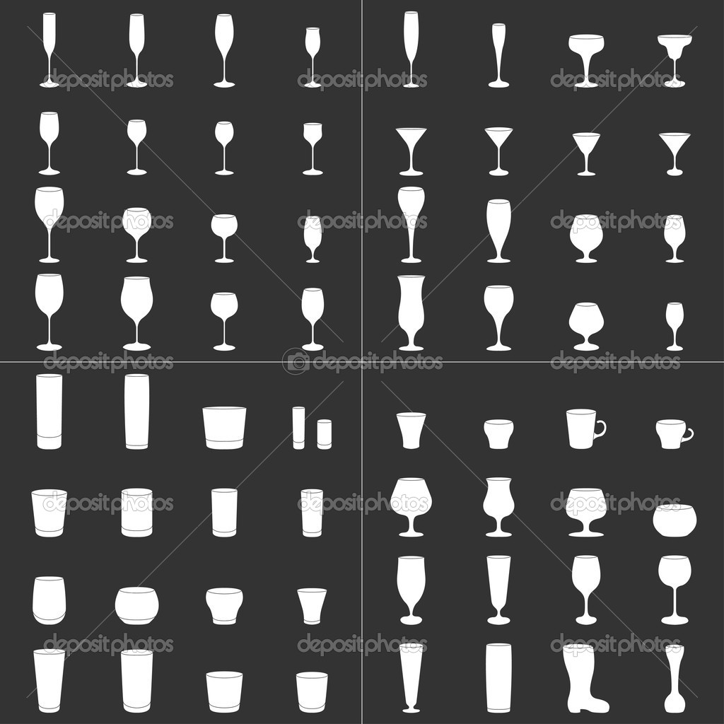 Wine Beer Glass Cup vector set