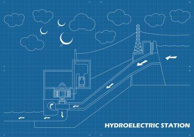 Hydro power station vector blueprint background