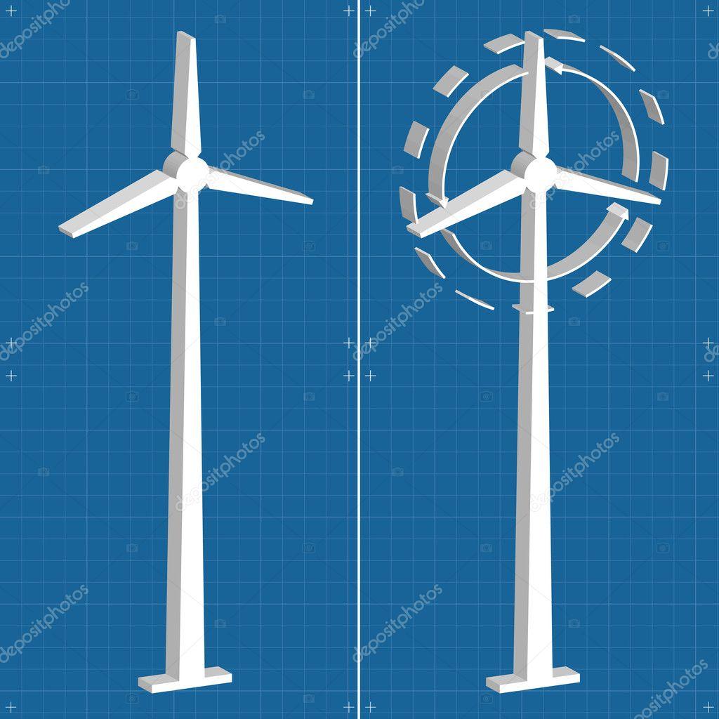 Windmill alternative energy 3d generator blueprint with wind flow windmill alternative energy 3d generator blueprint with wind flow vector stock vector malvernweather Choice Image
