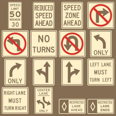 Image of various road and highway signs on a brown background
