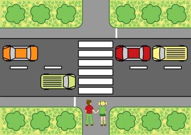 Road crossing school poster