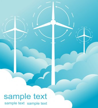 Windmill alternative energy 3d generator blueprint with wind flow vector
