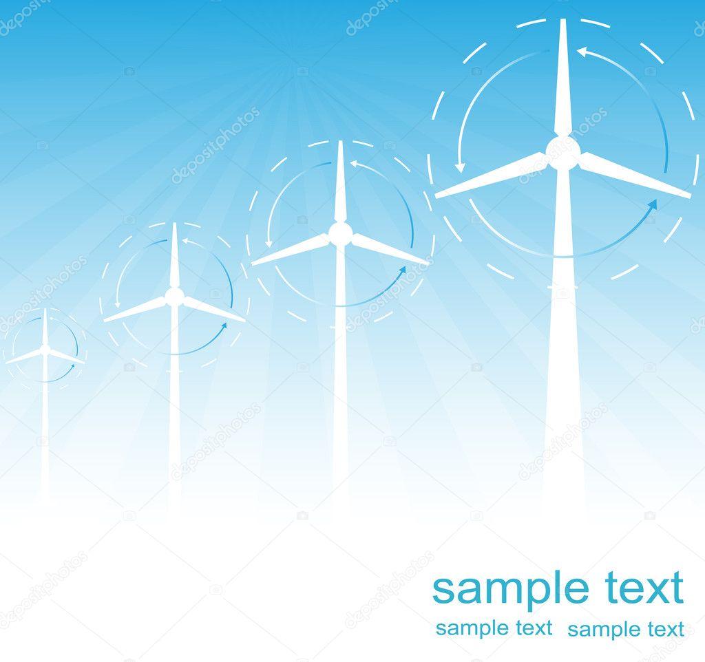 Windmill alternative energy 3d generator blueprint with wind flow windmill alternative energy 3d generator blueprint with wind flow vector stock vector malvernweather Image collections
