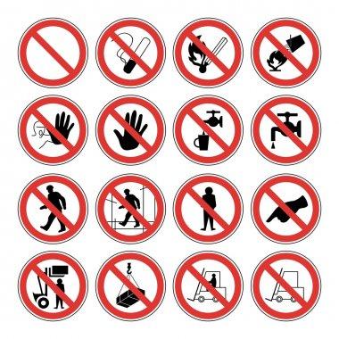 Hazard warning, health & safety and public information signs set