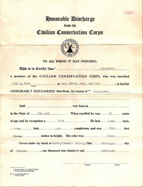 Vintage Honorable Discharge from CCC