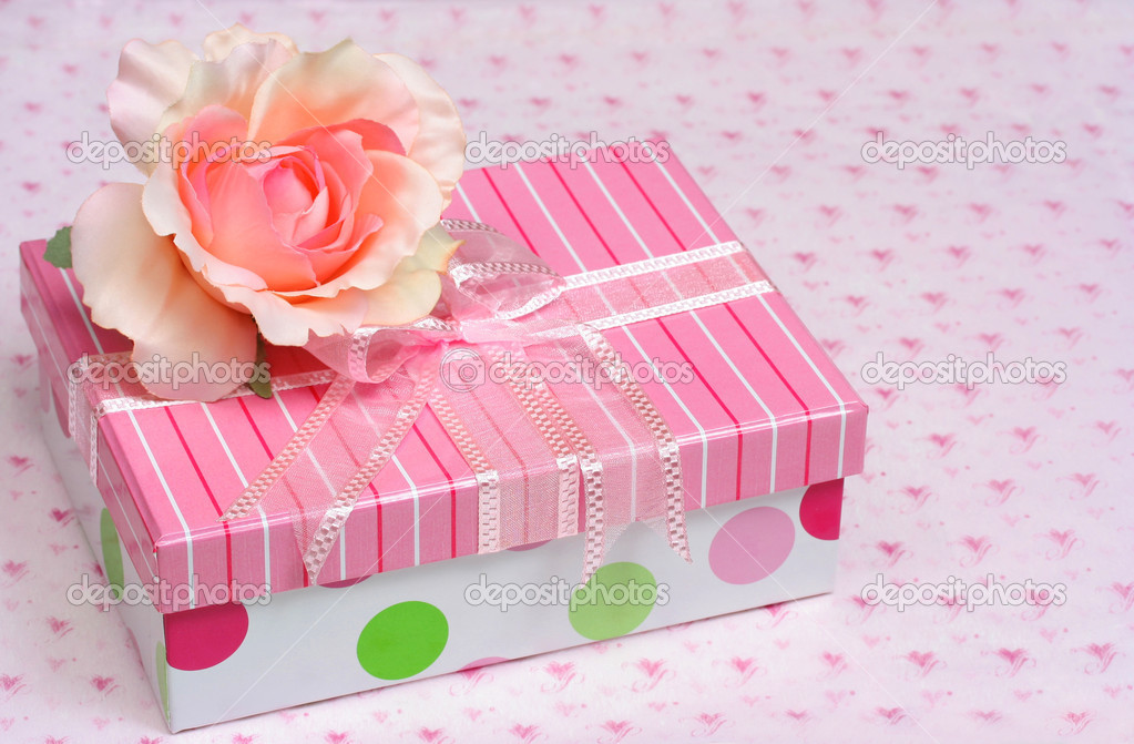 Pretty gift box with satin rose stock photo rojoimages 5048991 pretty gift box with satin rose stock photo 5048991 negle Images