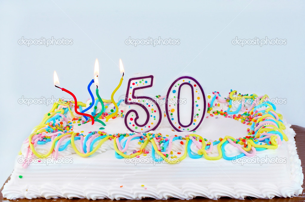 50th Birthday Cake Stock Photo