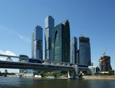 Skyscrapers of the International Business Center (City) closeup, Moscow, Ru