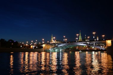 Russia, Moscow, night view of the Moskva River, the Great Stone Bridge and