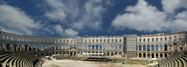 Panoramic view of the Arena (colosseum) in Pula, Croatia