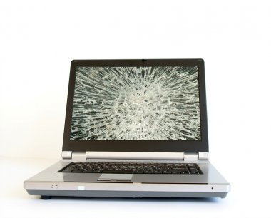 Laptop with broken screen monitor