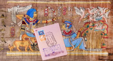 Page of the passport with the visa Egypt Hurghada International Airport on