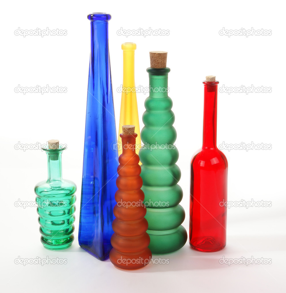colored glass vases on a white background photo by vladj55 - Colored Glass Vases