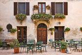 Fotografie italienische Trattoria (Taverne), Pienza, Toskana, Italien