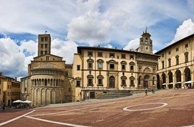 Piazza Grande square in Arezzo, Tuscany, Italy