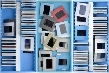 Boxes with old dusty slides