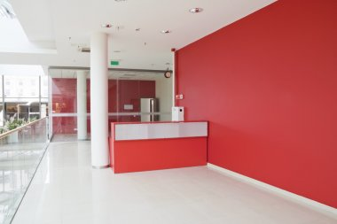 Big red wall at modern office