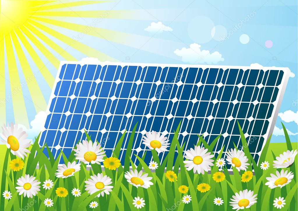 Solar cell in the green field background