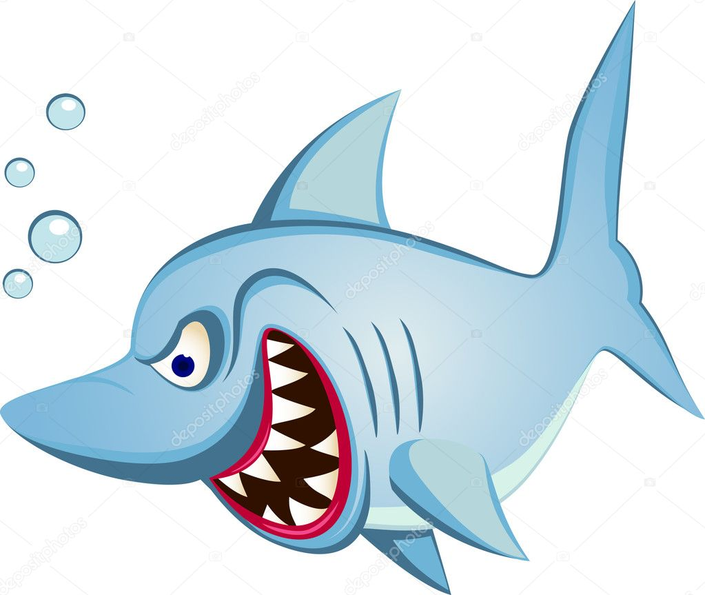 angry shark cartoon u2014 stock vector dagadu 5078135