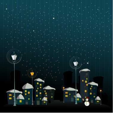 Cute winter background with illustrated snowman in the night stock vector