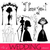 Sada ilustrované svatební prvek siluety