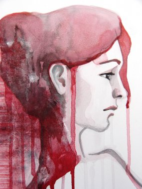 Illustrated portrait of beautiful girl   watercolor