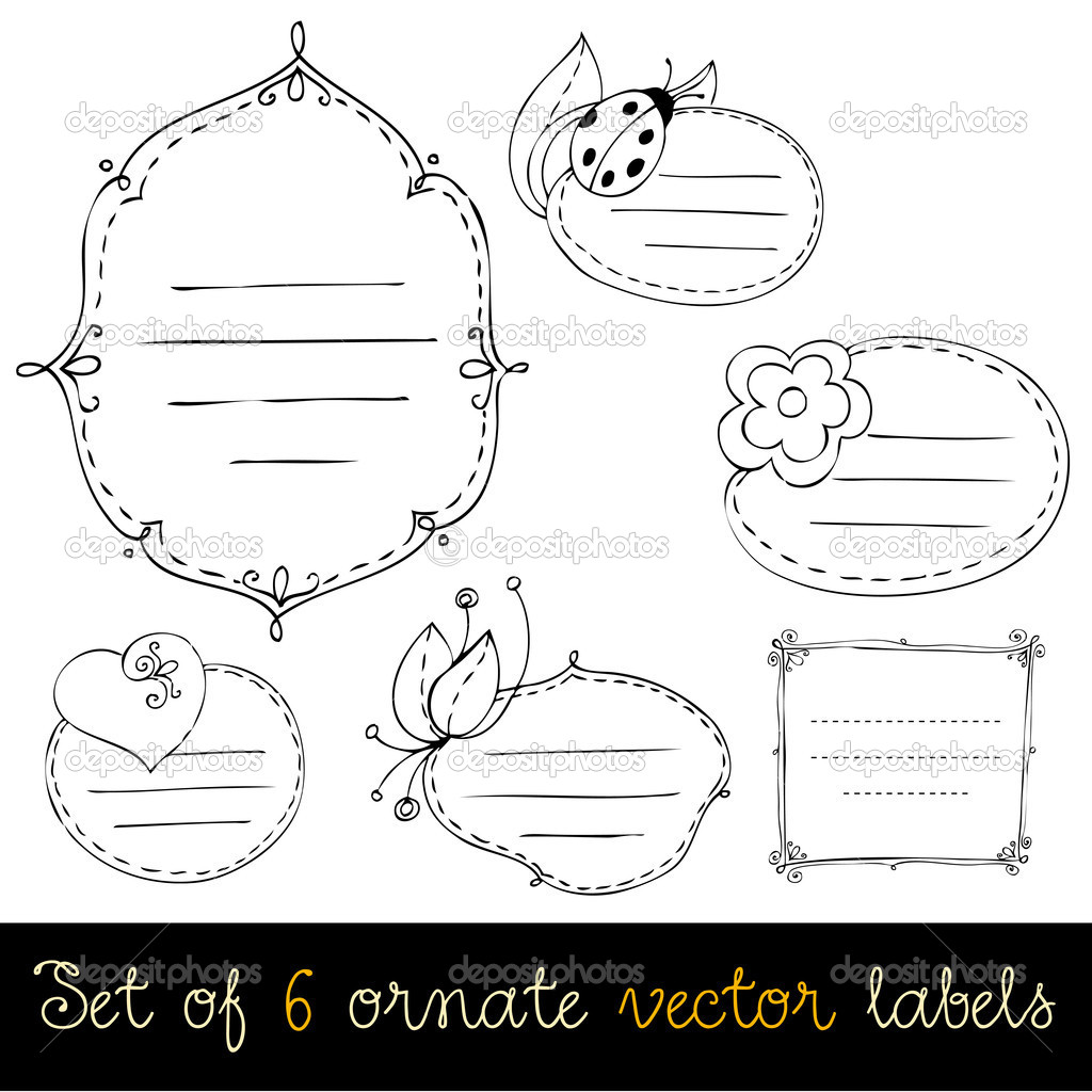 Set of cute doodle labels