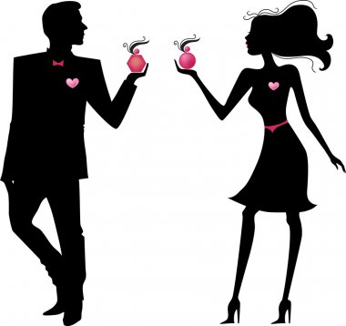 Silhouette of man and woman with parfums