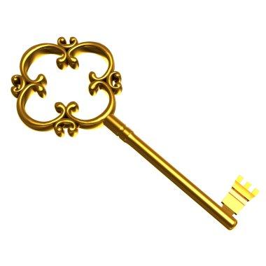 Illustration golden key on white stock vector