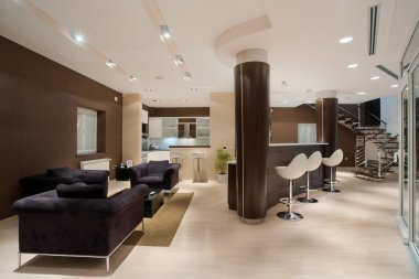 Modern house interior, large and expensive house architecture.