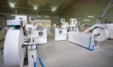 Machines for making handkerchiefs, rolls and serviettes. stock vector