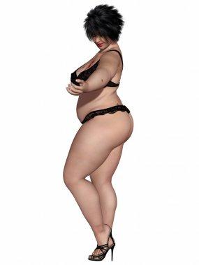 Overweight woman body in sexy underwear