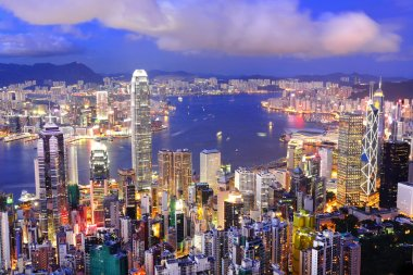 Hong Kong central district skyline and Victoria Harbour view at