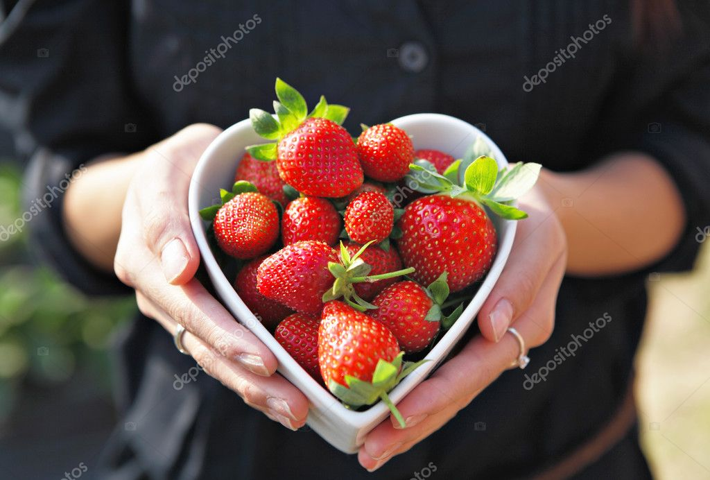 Strawberries in heart shape bowl